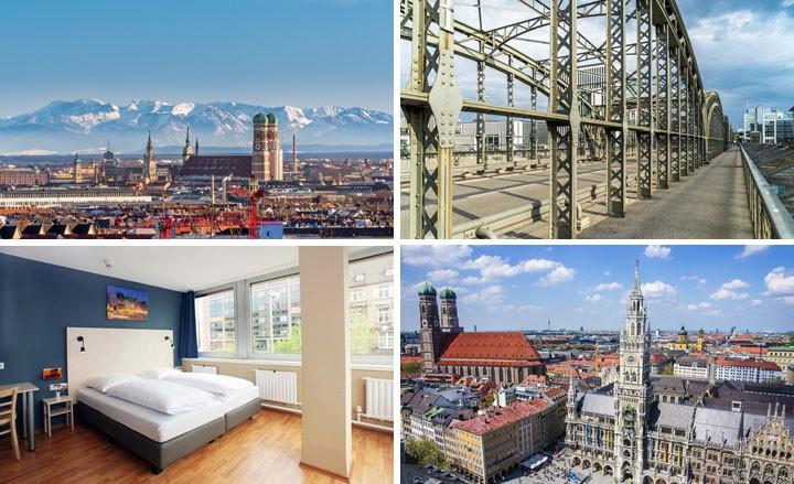 Städtetrip nach München Stadt-Hotel mit Dachterasse und Alpenblick