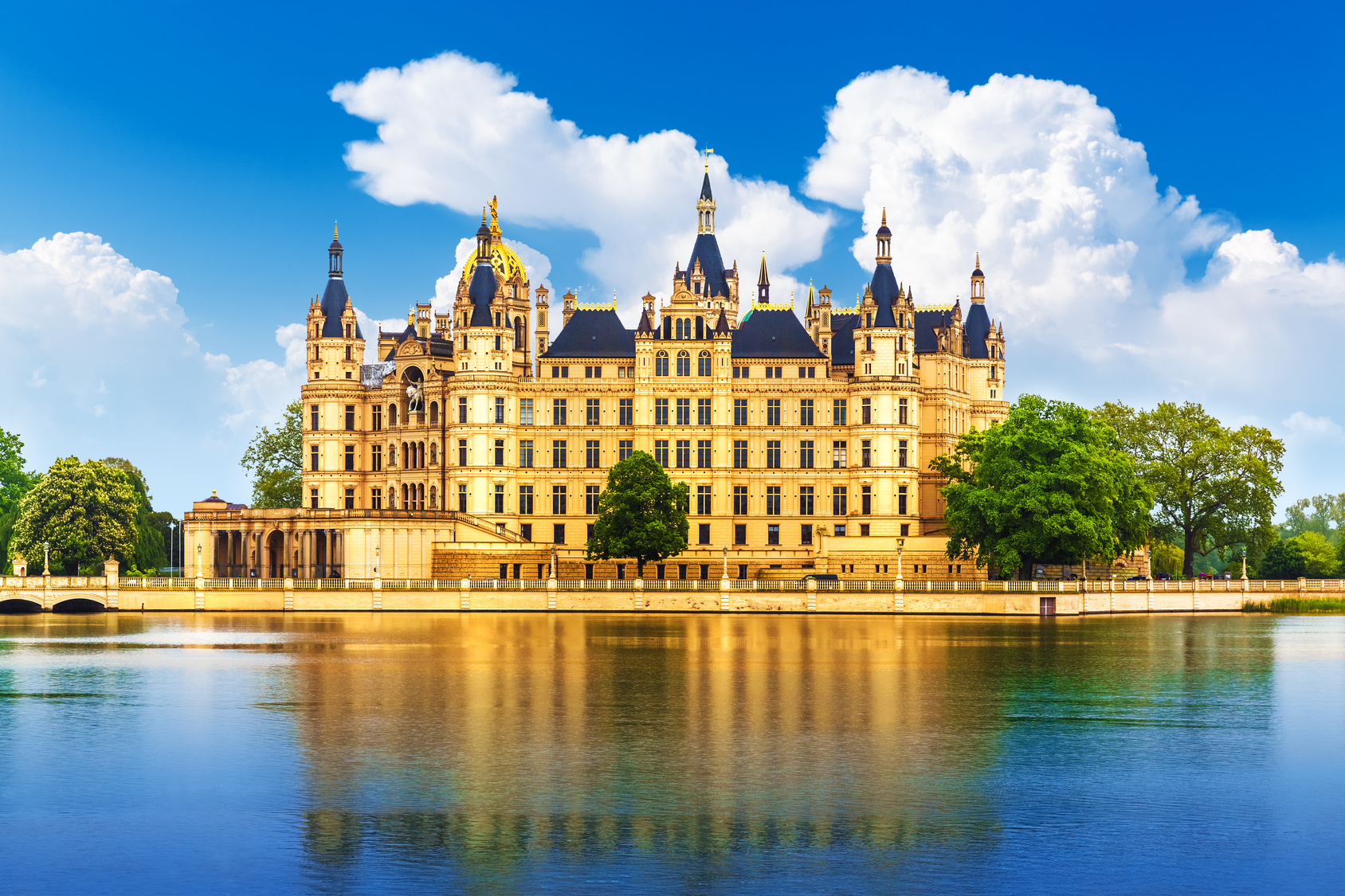 Scenic summer view of ancient castle in Schwerin, Mecklenburg region, Germany