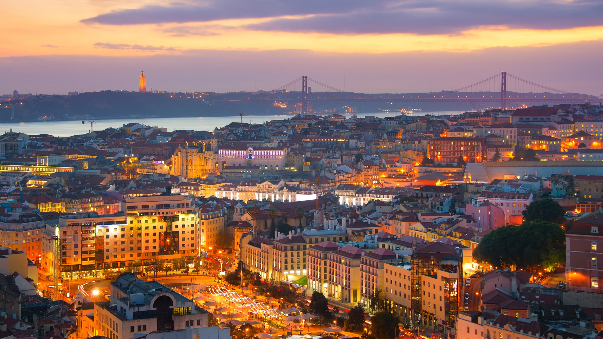 Lisbon skyline at twilight. Portugal