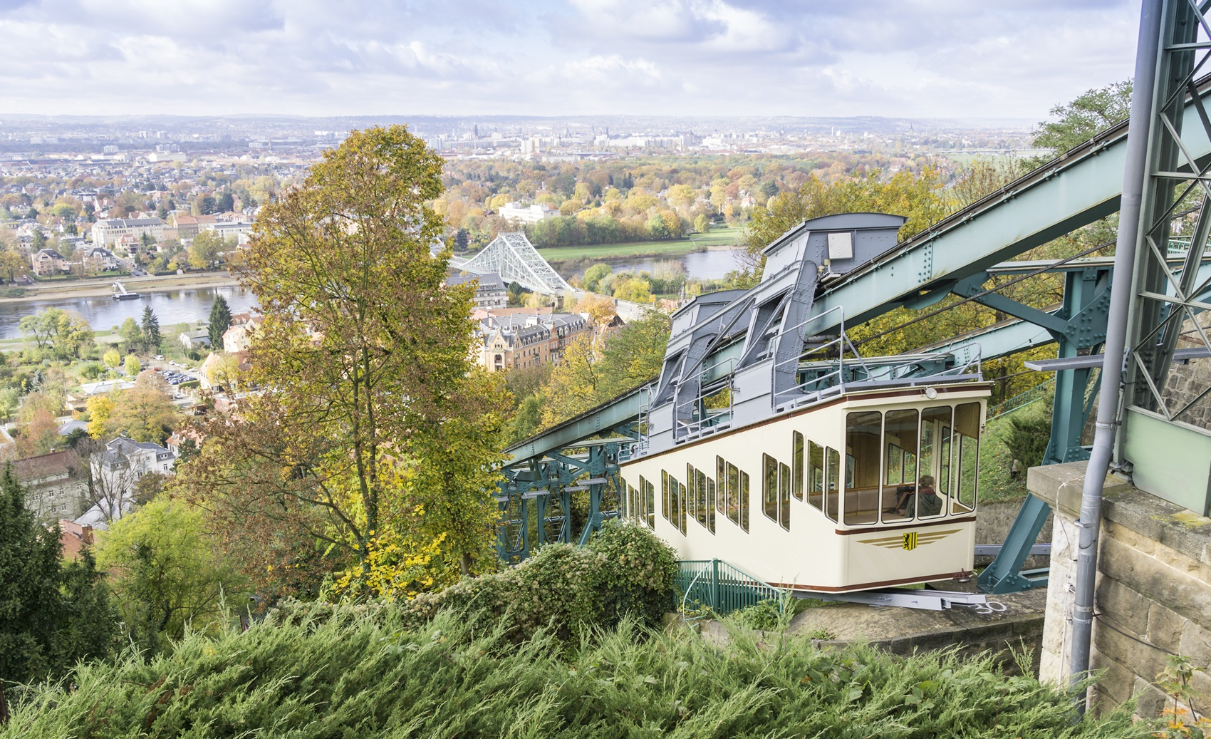 view over Dresden with the Blue Wonder and Dresden Suspension Railway