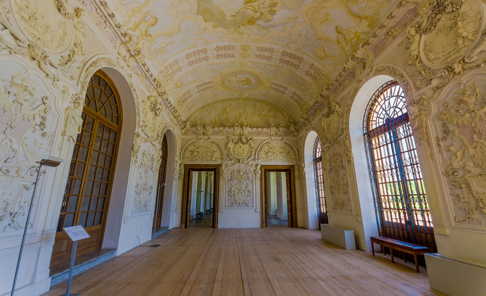 Schleissheim, Germany - July 30, 2015: Inside main palace building, rooms with incredible paintings, decorations, details and ornaments in true european traditional architecture