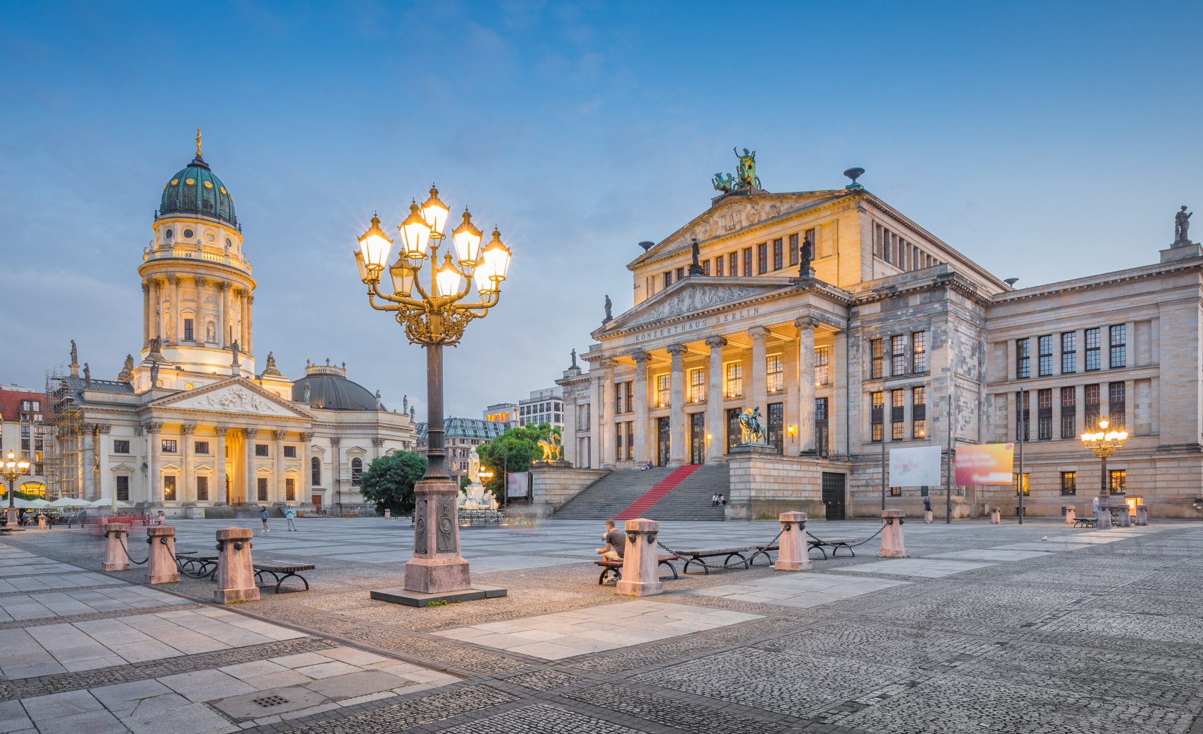 Berlin Gendarmenmarkt square panorama in twilight, Berlin Mitte, Germany