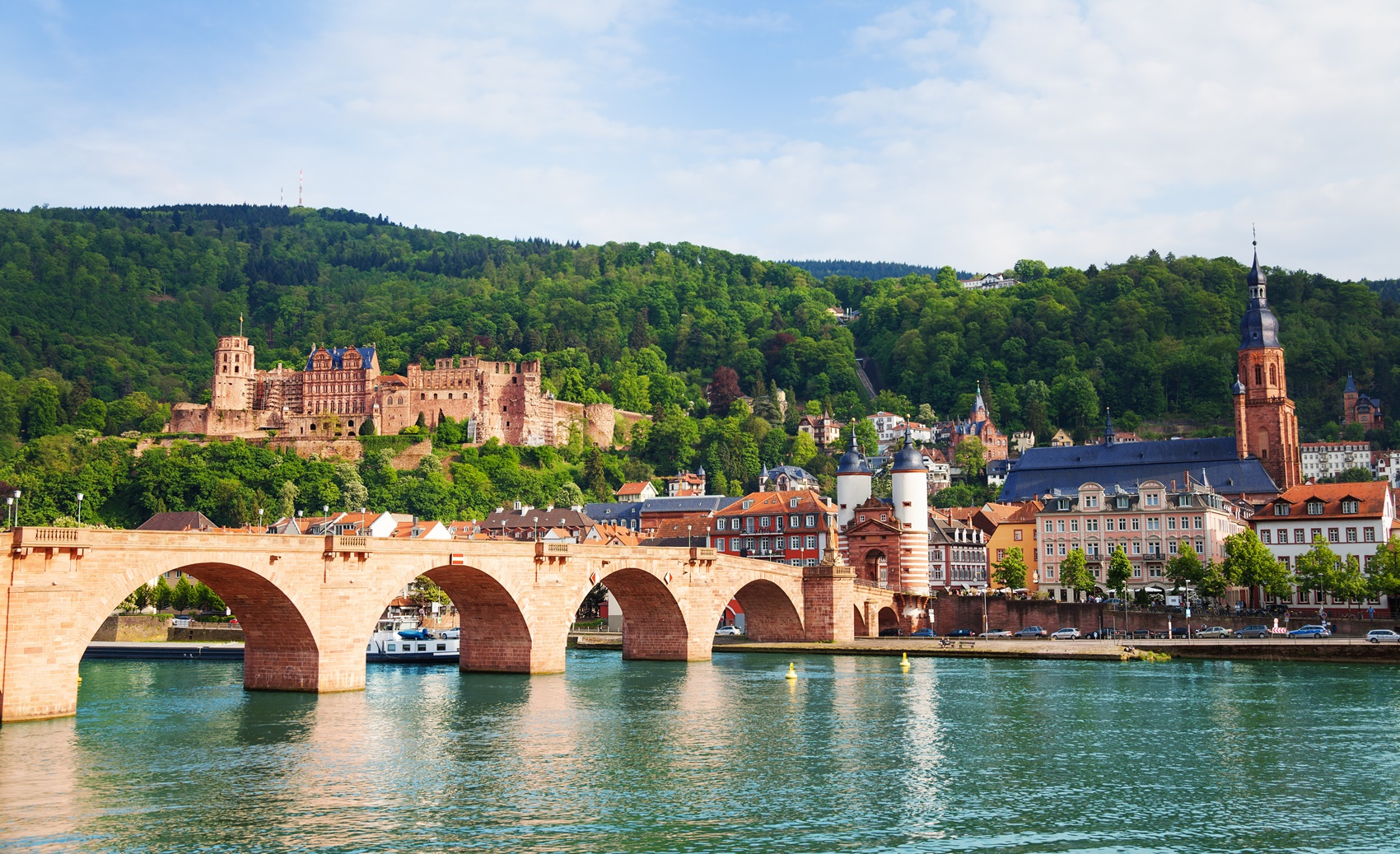 Beautiful view of Alte Brucke bridge and castle