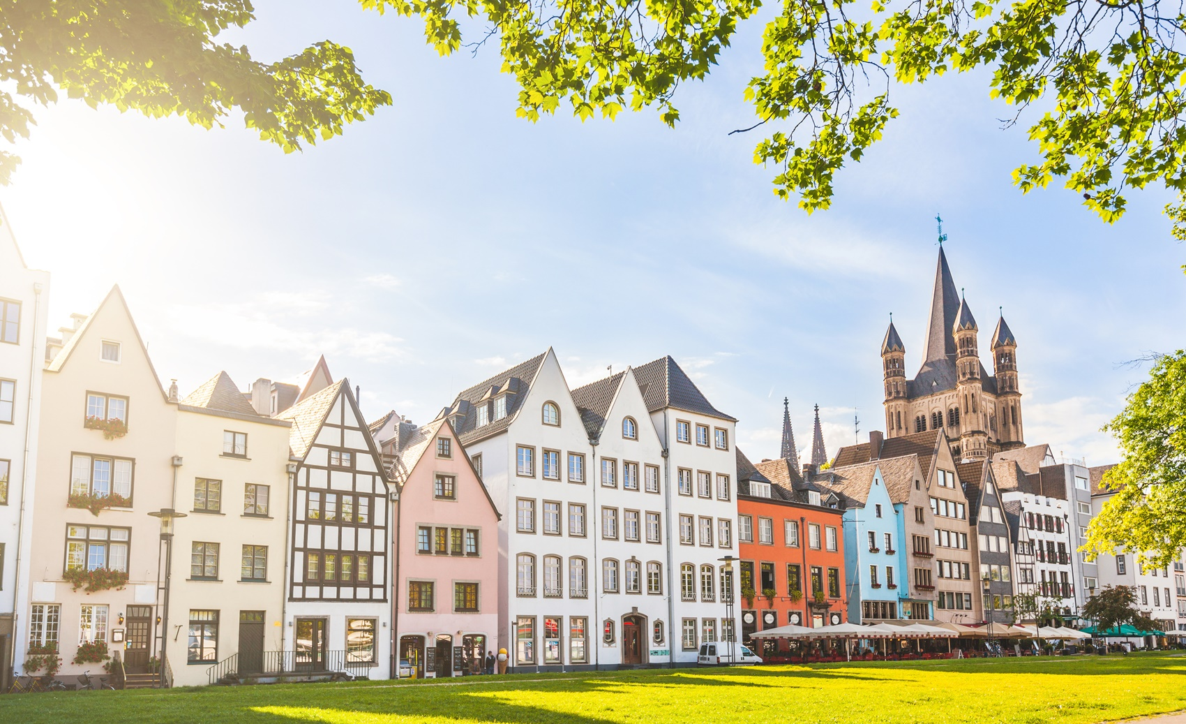 Houses and park in Cologne, Germany
