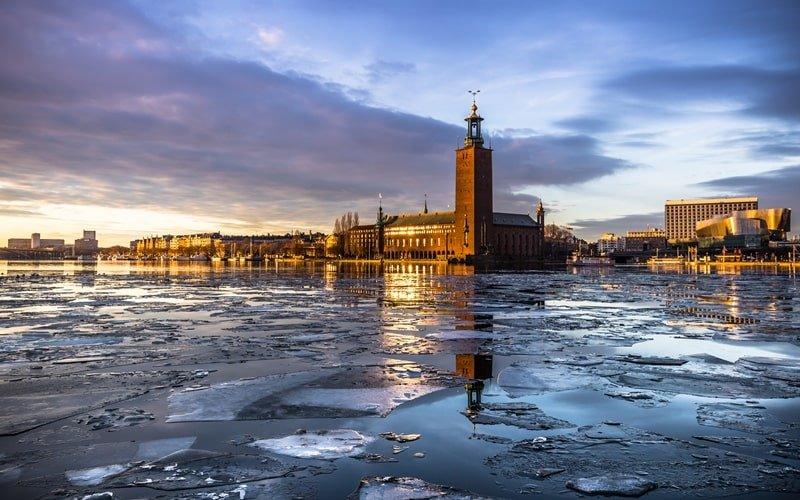 Rathaus Stockholm im Winter