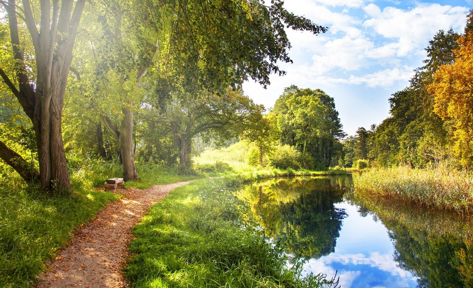 Weg entlang eines Flusses in Brandenburg