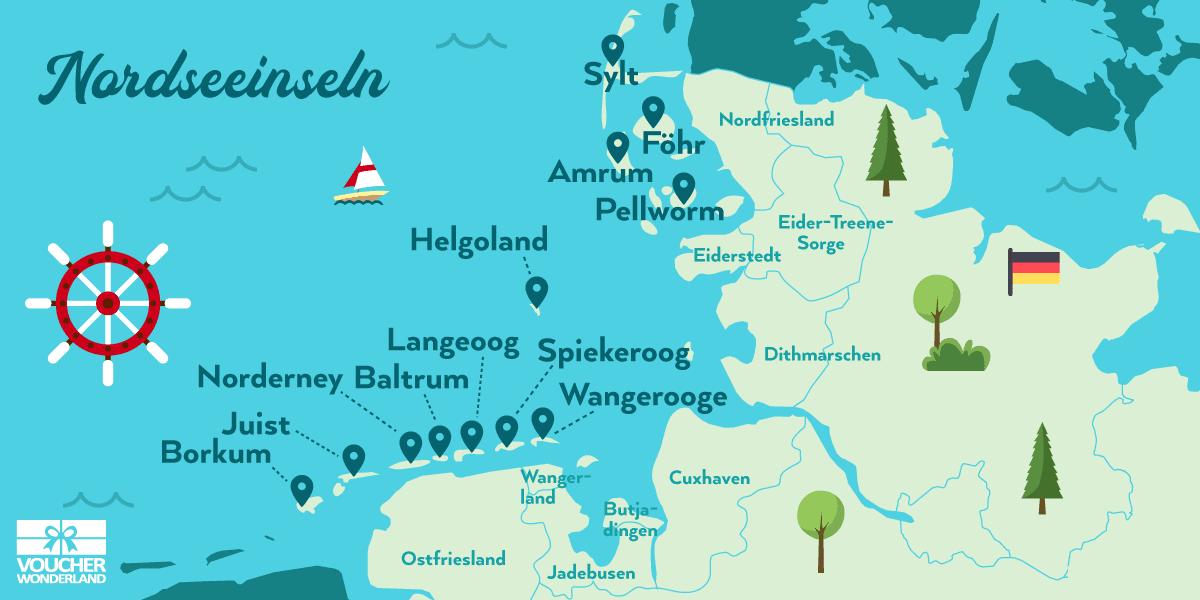 karte deutsche nordsee Die 12 schönsten Nordseeinseln in Deutschland (mit Karte)