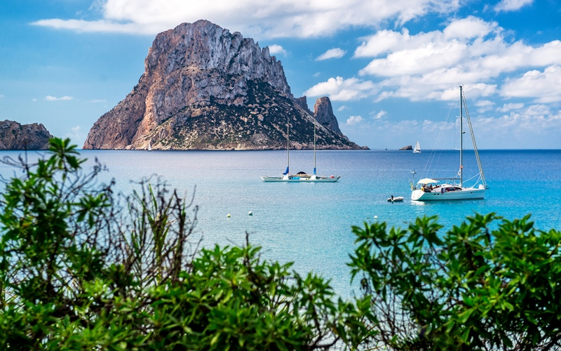 Picturesque view of the mysterious island of Es Vedra. Ibiza