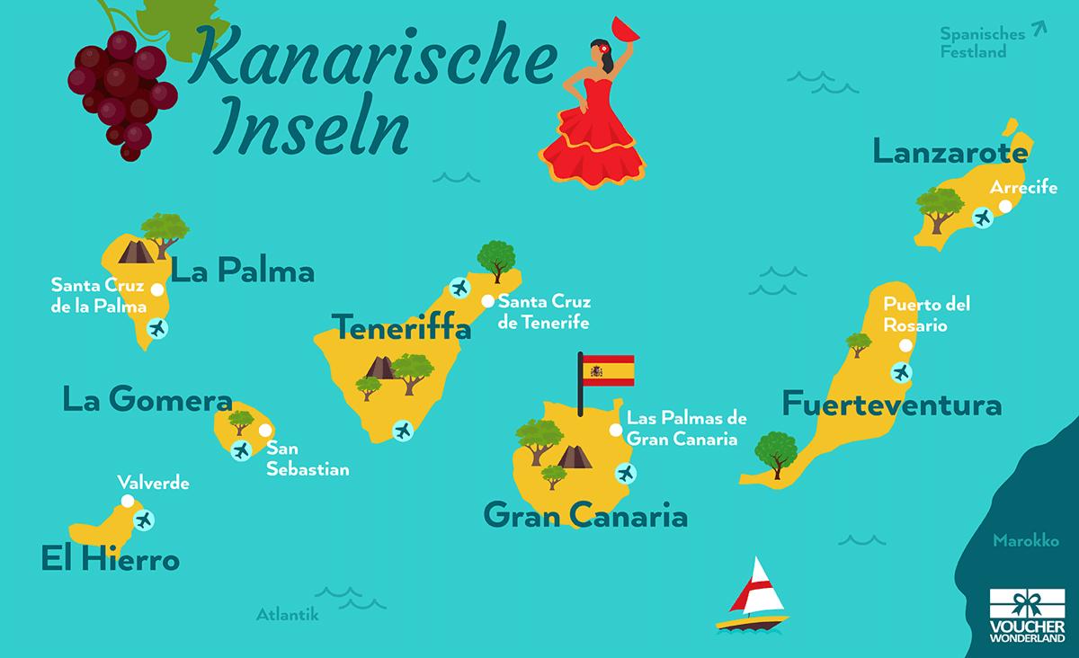 Karte kanarische Inseln