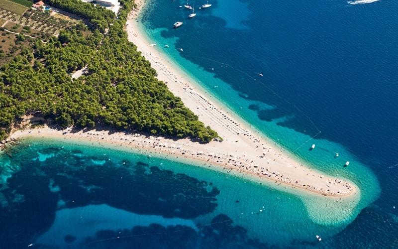 Regionen Kroatien mit Sandstrand Split-Knin Brac