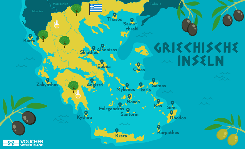 griechenland urlaubsziele karte Die 15 schönsten griechischen Inseln   2020 (mit Karte)