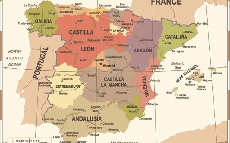 karte Spanien regionen